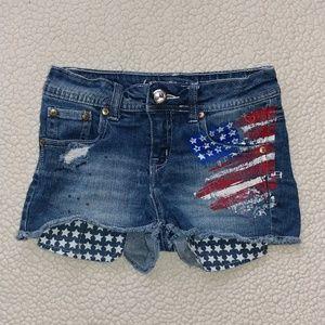 Justice Premium Jean American Flag Shorts